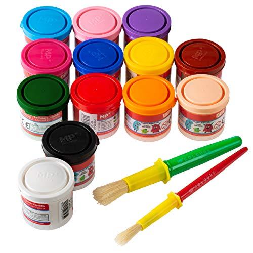 Pack 13 Botes de Temperas para Niños Lavable Liquidas 40ml + 2 Pinceles para Tempera | Artix Pro