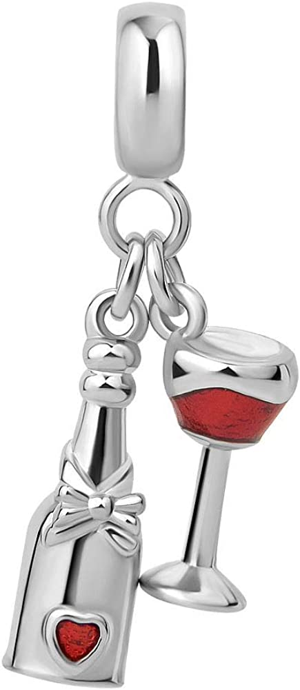 Sexymandala Sparkling Wine Bottle Glass Cup Charms Red Wine Lover dangle Bead fit for Pandora Charm Bracelets 12 Colors