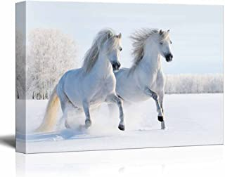 Canvas Prints Wall Art - Two Galloping White Welsh Ponies/Horses on Snow Field | Modern Wall Decor/Home Decor Stretched Gallery Canvas Wraps Giclee Print & Ready to Hang - 24