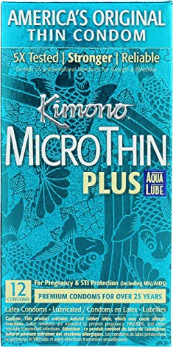 Kimono MicroThin Plus Ultra Lubricated Condoms with Aqua Lube Water Based Lubricant, Natural Clear Latex, Unscented, 12 Count