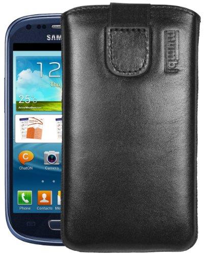 mumbi Echt Ledertasche kompatibel mit Samsung Galaxy S3 mini Hülle Leder Tasche Case Wallet, schwarz