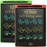 LCD Writing Tablet 12 Inch,2 Pack Colorful Drawing Tablet for Kids, Electronic Writing Drawing Pads Portable Doodle Board Gifts for Kids Office Memo Home Whiteboard