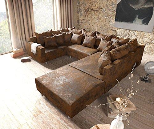 Sofa Clovis erweiterbares Modulsofa Eckcouch Wohnlandschaft (Sofa mit Hocker + Armlehne, Braun)