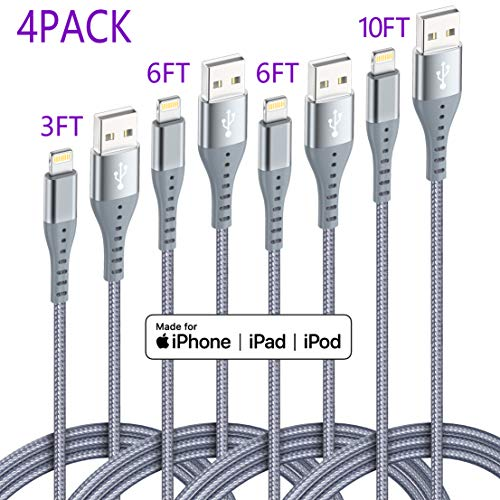 iPhone Charger Lightning Cable XnewCable 4Pack(10ft 6ft 6ft 3ft) Apple MFi Certified Nylon Braided Long Fast USB Cord Compatible for iPhone 11Pro MAX Xs XR X 8 7 6S 6 Plus SE 5S 5C (Light Grey)