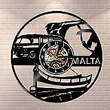 LIMN Reloj de Pared de la República de Malta, Reloj de Pared con Disco de Vinilo Vintage, Regalo de Viaje de Turismo de país Europeo, Recuerdo de la República de Malta