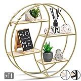 JustComfy Wandregal rund - stylisches Schweberegal als dekorative Ablagefläche - 55x13cm - Metallrahmen in Gold mit Echtholz - ideal als Wanddeko oder Gewürzregal