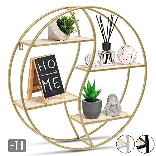 JustComfy Estantería de pared circular – elegante estantería flotante repisa decorativa – 55 x 13 cm – marco de metal color dorado con madera auténtica – ideal como decoración de pared o especiero ⭐