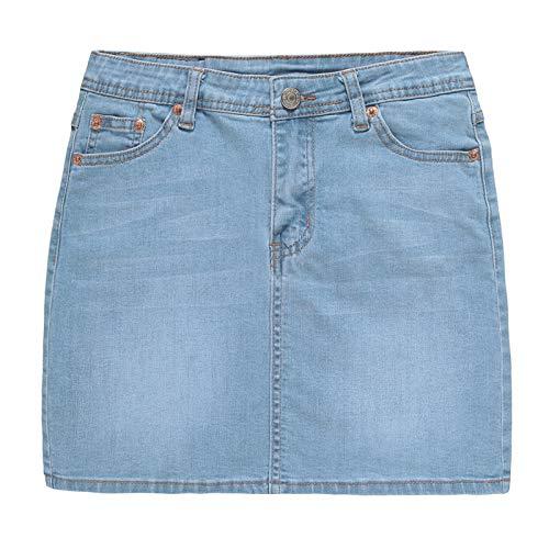 Cicilin Damen Basic Sommer Denim Röcke Minirock Vintage Jeansrock Slim Fit Stretch Hell Blau EU 42/ Label US-L: Taille 86 cm