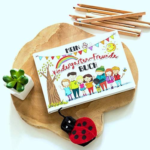 Mein Kindergarten-Freunde Buch - Ein buntes Erinnerungsalbum mit Platz für 17 Kinder, 4 Erzieher + Gruppenbilder Rundfux