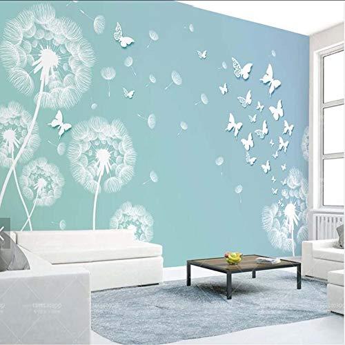 Cczxfcc 3D paardenbloem vlinder Mural Fotobehang voor woonkamer TV achterwand Decorer Elke grootte Landschap muur papieren rol 450 cm x 300 cm.
