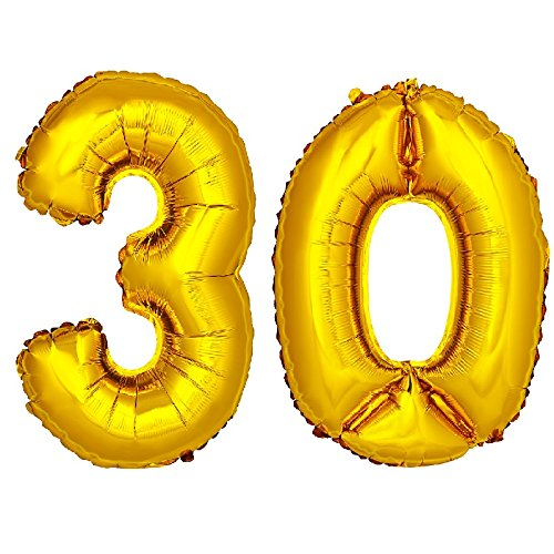 DekoRex® Folienballon Zahlenballon Luftballon Geburtstag Deko 40cm Gold Zahl: 30