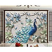 Iusasdz 家の装飾の壁紙壁画モダンな新鮮なステレオレリーフ孔雀テレビソファ背景壁3D壁紙-350X250Cm