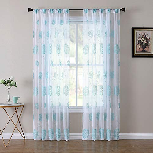 Tollpiz Floral Sheer Curtain Aqua Blue Nest Embroidery Bedroom Curtains Rod Pocket Voile Linen Textured Window Curtain for Living Room, 54 x 84 inches Long, Set of 2 Panels