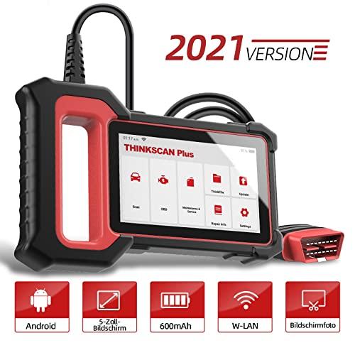 OBD2 Diagnosegerät THINKCAR ThinkScan Plus S5 OBD2 Bluetooth Adapter,2021Neue Version KFZ Auslesegerät mit 28 Wartungsdiensten und 3 Systemdiagnosen (Motor/ABS/SRS) Öl-Reset/EPB Kostenlose Nutzung