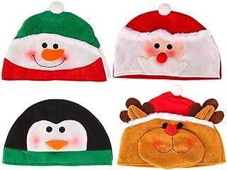 Amosfun 4 piezas Navidad Sombrero Felpa Fiesta Dibujos Animados Gorra Muñeco De Nieve Pingüino Papá Noel Elk Para Año Nuevo Accesorio De Disfraces