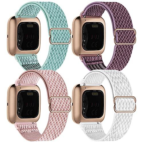 Fengyiyuda 4Pack Nylon Cinturino Compatibile con Fitbit Versa/Versa 2/Versa Lite/Versa SE,Elastico Regolabile Cinturinio,Donna Uomo Sportivo Straps,Marine Green/Smoky Purple/Rose Pink/White