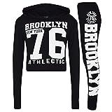 A2Z 4 Kids Enfants Filles Top Designer Brooklyn New York 76 Athletic Imprimer - Brklyn Hooded Crop Set Black...