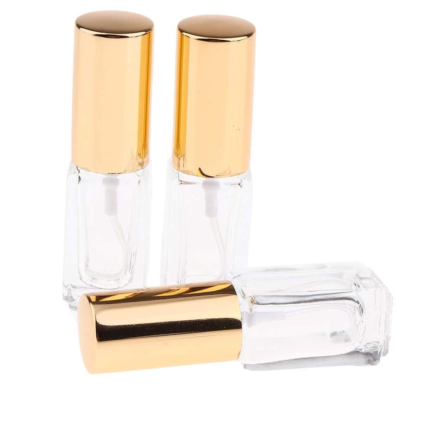 スローガン銀行レシピCUTICATE 全3色 空の香水瓶 アトマイザー 空のボトル 3ML スプレーボトル 詰め替え 携帯用 便利 3個 - ゴールドキャップ