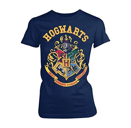Plastic Head Damen Harry Potter Crest GTS T-Shirt, Blau (Blue), 38 (Herstellergröße:Large)
