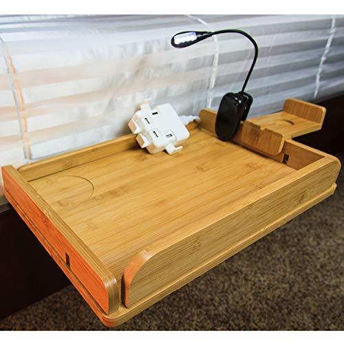 MintCreek Bed Shelf 2.0 | Easy Device Charging | College Dorm, Bedside Storage, Bunk Beds | Removable Sides | 10 Power Cord Slots | Bedside Organizer (USB Bonus=$30 Value)