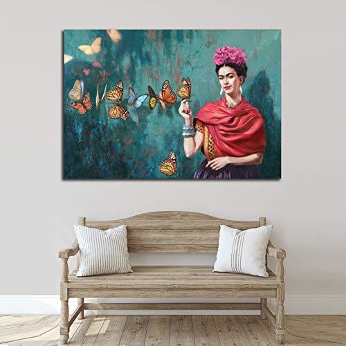 Desconocido Cuadro Lienzo Autorretrato Frida Kahlo Mariposas – Varias Medidas - Lienzo de Tela Bastidor de Madera de 3 cm - Impresion Alta resolucion (50, 34)