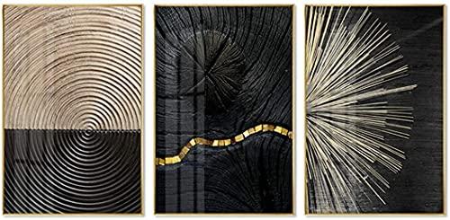 XINGCI Lienzo de pintura en negro, blanco y dorado, anillo anual de...