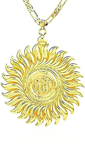 Collar Grande, Colgante de Alá, Color Deslizante, Oro, Islam, joyería de Alá, Mujeres, Hombres, joyería árabe Musulmana, Longitud de 45 cm, Regalo