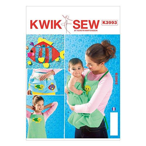 Kwik Sew Patroon K3993 Maat Schort A - Klein/Medium/Large Schort B - One Size Baby Schort en speelgoed houder, wit, 1 stuk