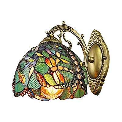 """LITFAD Turquoise Dragonfly Wall Sconce Tiffany Style Stained Glass Wall Light 8"""" Width One Light Victorian Decorative Wall Lamp for Staircase Bedroom Hotel"""