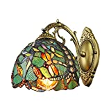 LITFAD Turquoise Dragonfly Wall Sconce Tiffany Style Stained Glass Wall Light 8' Width One Light Victorian Decorative Wall Lamp for Staircase Bedroom Hotel