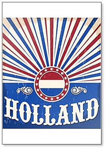 Holland Vintage Oude Poster met Nederlandse Vlag Reizen Illustratie Koelkast Magneet