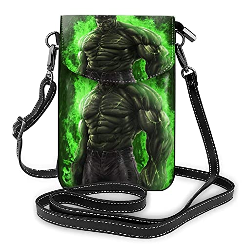 XCNGG Monedero pequeño para teléfono celular Women's Small Crossbody Bag with Shoulder Strap,Mighty Hulk Small Cell Phone Purse Wallet with Credit Card Slots