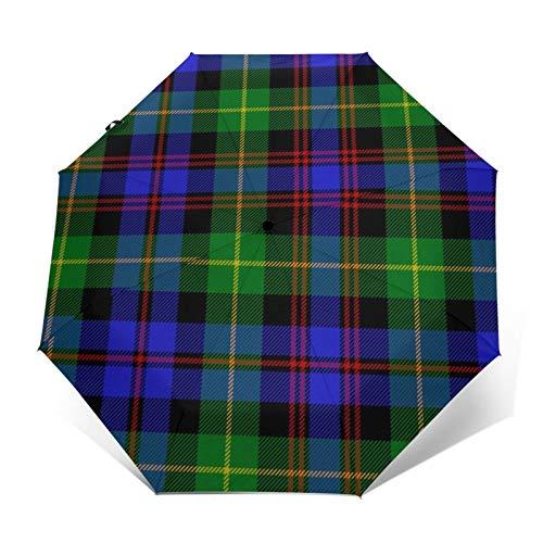 Schwarzer Regenschirm mit Plaid von Pipers winddichter Regenschirm, zusammenklappbar, wasserabweisend, automatisch, dreifach faltbar, leicht, kompakt