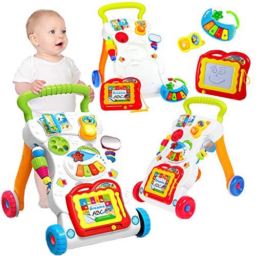 MalPlay Laufwagen 3 in 1 mit Zaubertafel , Piano und Baby Handy | Lauflernhilfe Gehhilfe Musik und Spielzeugen | Lauflernwagen für Babys ab 6 Monaten