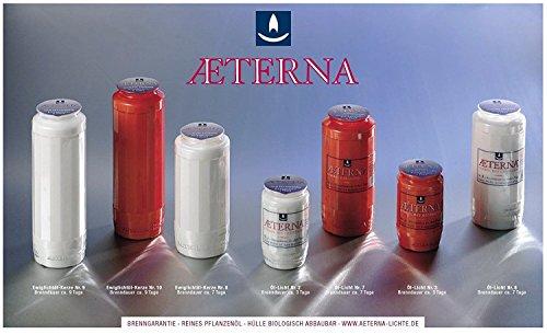 10 Stück Grablicht-Kerzen Rot - Brenndauer ca. 7 Tage - 20x7 cm - 3795 - mit goldfarbigen Deckel – Aeterna Grablichter