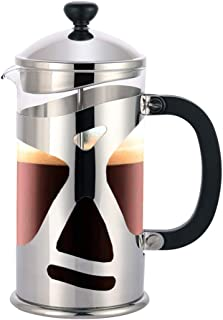 Highwin 8-Cup Dual-Filter French Press Coffee Maker, 34 Ounce Press Pot Cafetiere, Stainless Steel Coffee Plunger, Silver