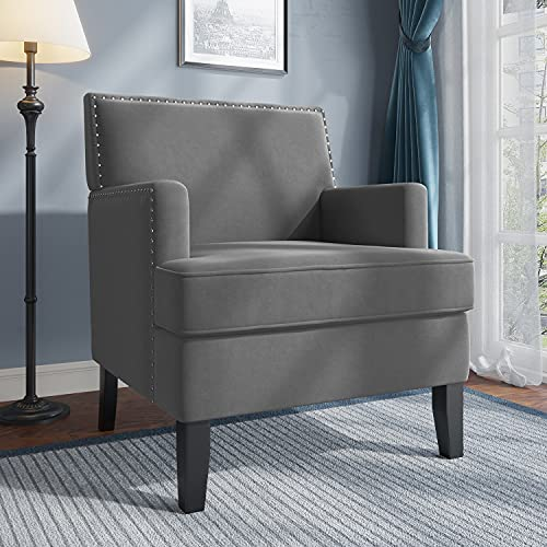 JustRoomy Wide Accent Chair Comfortable Armchair Faux Velvet Fabric with Nailhead Trim Comfy Single Sofa for Living Room Bedroom Removeable Deep Seat Cushion High Back Club Style Big Capacity, Grey