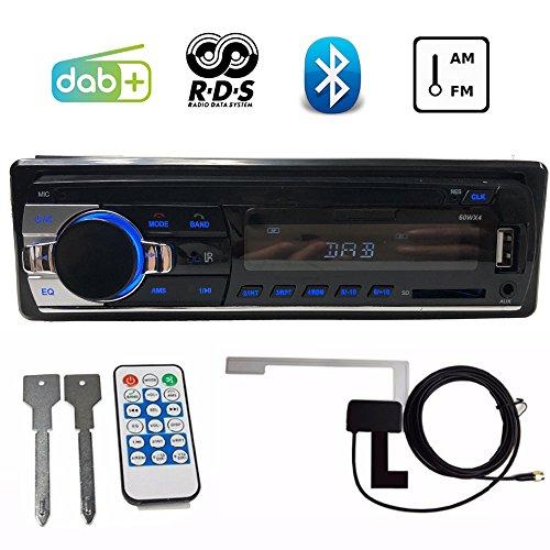PolarLander Autoradio Voiture Dab + Radio Bluetooth Voiture Stéréo Audio avec Dab Antenne RDS FM AM MP3 USB SD Aux-in