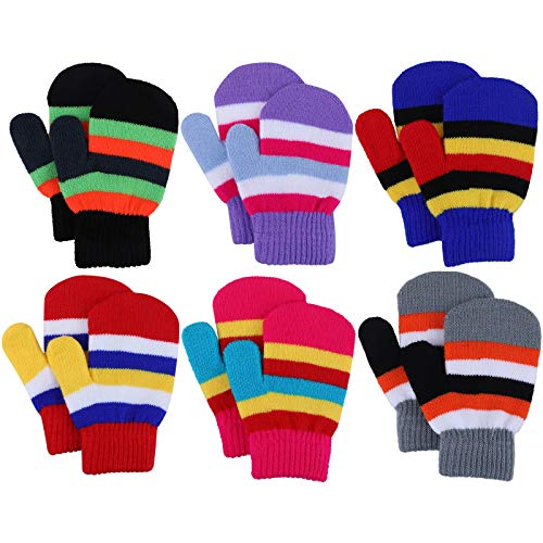 Toddler Mitten Kids Winter Warm Knitted Gloves Magic Stretch Colorful...
