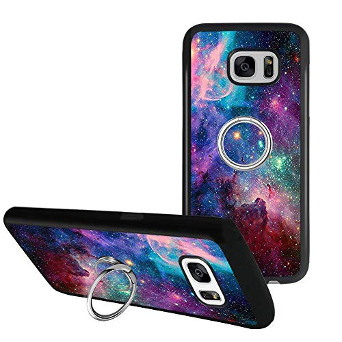 jacbob Universal Custom Purple Space Sky Samsung Galaxy S7 Phone Case Ring Holder Kickstand Rotational Heavy Duty Armor Protective Soft TPU Bumper Shell Cover for Samsung Galaxy S7
