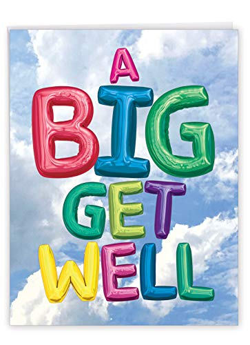 NobleWorks - Big Funny Group Get Well Card (8.5 x 11 Inch) - Jumbo Feel Better Soon from All of Us, Hospital, Sick (Not 3D or Raised) - Inflated Messages J5651HGWG-US