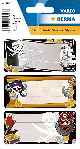 HERMA 5543Nombre de cuaderno etiquetas para la Escuela, diseño de piratas, formato 7,6x 3,5cm, contenido por paquete: 9etiquetas