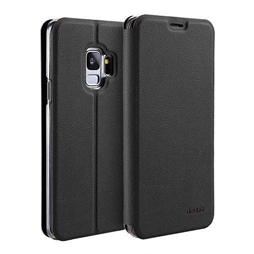 doupi Flip Hülle für Samsung Galaxy S9, Deluxe Schutz Hülle mit Magnetischem Verschluss Cover Klappbar Book Style Handyhülle Aufstellbar Ständer, schwarz