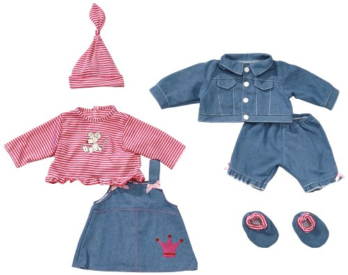 Bayer Design 84618 für 42-46cm Puppen, Hose, Oberteil, Jacke, Kleid, Shirt, Mütze, Schuhe, Jeans-Optik, rosa