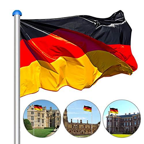 Hengda 6,5 m Aluminium Fahnenmast inkl. 150 * 90 cm Deutschland Fahne + Bodenhülse + Zugseil + Verschlusshaken + Abschlusskappe,die Höhe in 5 verschiedenen Höhen variiert Werden