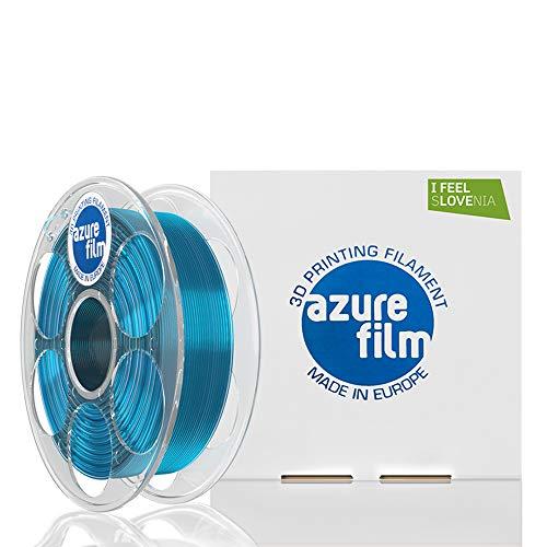 AZUREFILM 3D Filamento PETG per stampa 3D professionale 1,75 mm - Accessori di stampa 3D indispensabili - Precisione dimensionale elevata +/- 0,02 mm, Bobina 1 kg, Blu Transparente - Senza bolle