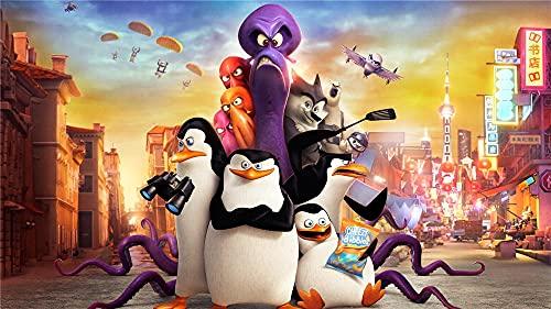 Película Pingüinos De Madagascar Pintar Por Numeros Adultos Diy Pintura Al Óleo Por Número Kit Pintura Por Número Con Pinceles Lupa Para Decoración De Pared-40 x 60cm