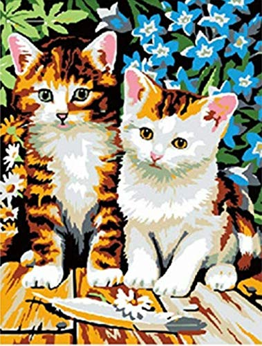 HNZYF DIY Lions Girl y Black Kitty Two Cats Fishing Village Boat Animal Painting by Numbers Pinturas al óleo para Sala de Estar Pared Hogar -Kitty Two Cats