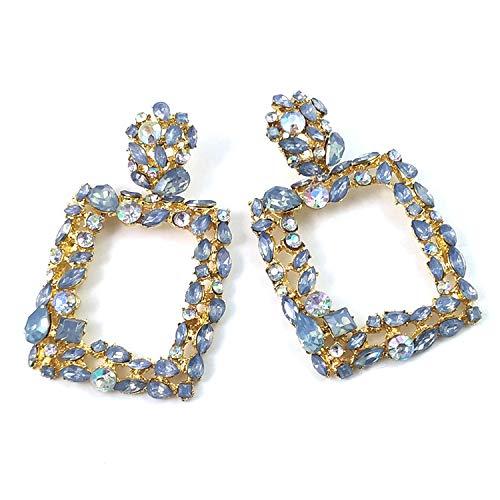 S925 aguja de plata pendientes geométricos exagerados europeos y americanos pendientes femeninos pendientes cuadrados de cristal de color retro E