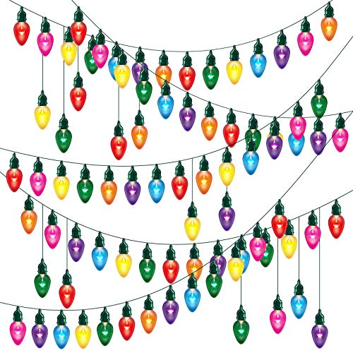 72 Pieces Christmas Light Banner Colorful Light Bulbs Cut-Outs with 120 Pieces Removable Glue Point Dots and Dark Green Twine for Christmas Decor Home Birthday Festive Event